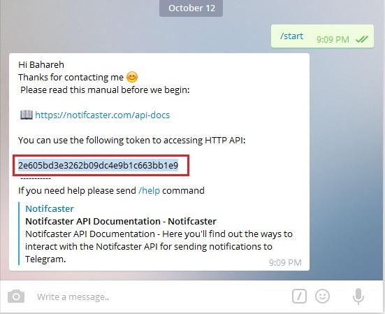 token-api افزونه اتصال وردپرس به تلگرام