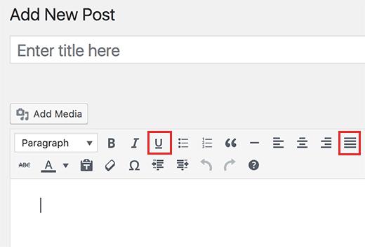 underlinejustify افزودن دکمه تراز و زیر خط دار به ادیتور وردپرس
