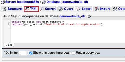 phpmyadminsql آموزش پیدا کردن و جایگزینی عبارت در پایگاه داده وردپرس