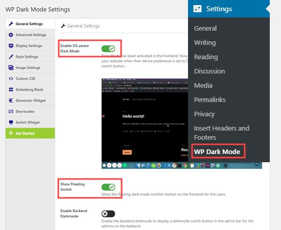 wp-dark-mode-settings-general اضافه کردن حالت شب به قالب وردپرس با افزونه WP Dark Mode